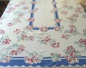 Vintage c1950 Floral Printed Tablecloth