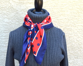 Polka dot and geometric print scarf vintage red white blue fashion accessories sale