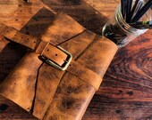 Buckle Leather Journal Honey Brown Travel Refillable Trifold Paper Protection Notebook Cover Diary Hand Stitched Book