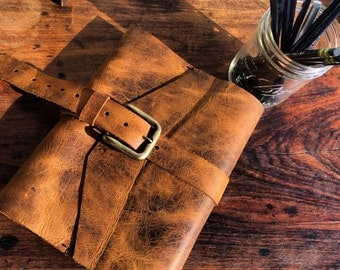 Handmade leather bound journal, Custom personalized leather notebook cover with brass buckle, We make beautiful notebooks sewn by hand