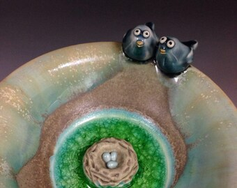 Love Birds and  Nest Pottery Jewelry Pedestal Bowl