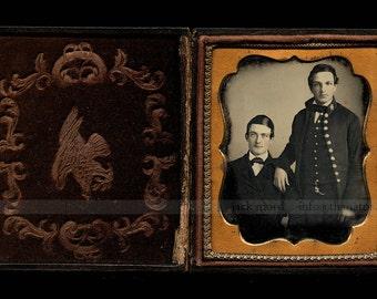 Very Rare Daguerreotype of Military Man in Patriotic Case