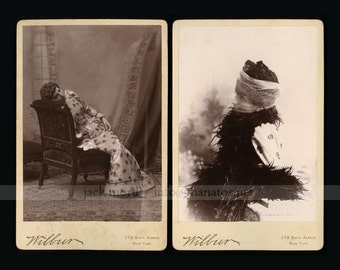 TWO Unusual Fashion Cabinet Cards New York City Woman in Wonderful Dress & Veil