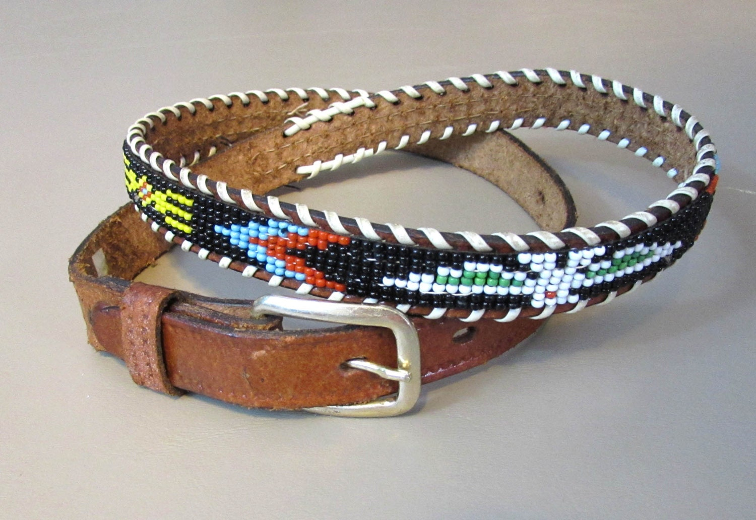 beaded leather belt american by janesvintage