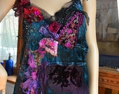 Velvet Dark Blue/Teal Top Unique Art To Wear  WILD RED ORHID Twenties Style Gipsy Hippie Antique Tribal Tattered Boho