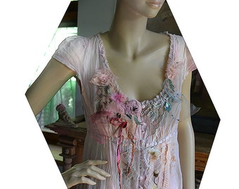 RESERVED Part Payment Unique Romantic Schabby Chic Pale Pink Silk Blouse Or Jacket BLOSSOMING CHERRY Fairy Forest Tattered Boho