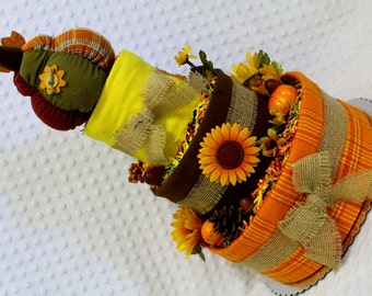 Harvest Baby Diaper Cake Rustic Fall Shower Gift or Centerpiece
