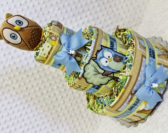 Owls Baby Diaper Cake Boys Blue Shower Gift or Centerpiece