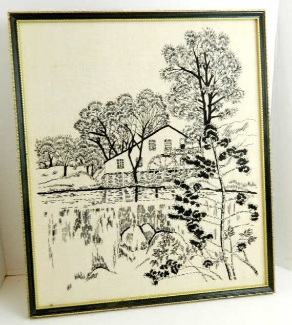 "Framed Needlework Waterwheel black and white toile look handmade 15.5"" x 18"""