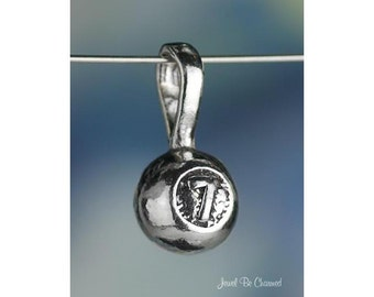 Sterling Silver Lottery Ball CHARM or PENDANT Lucky Number 7 Seven 925