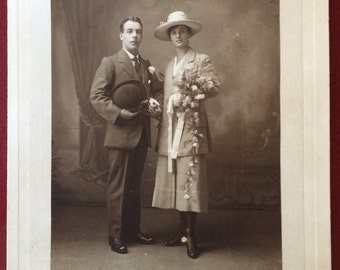 "Classy Antique Wedding Photo - Man   - Woman - Lovely Couple - 9"" x 12"" - Vintage Photo"