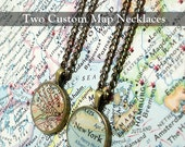 Pair Of CUSTOM Map Necklaces. You Select Two Locations. Friendship Jewelry. Map Pendant. Map Jewelry. Friends and Family. Personalized Gifts
