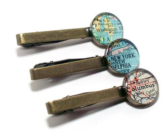 One Custom Vintage Map Tie Clip. You Select Location Worldwide. Personalized Wedding Tie Bar. Personalised Groom Tie Tack. Groomsmen Gifts.