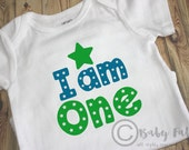 I am One, Boy bodysuit, green and blue baby shirt, baby boy, 1st birthday shirt, Little Man, first birthday tee, birthday boy, ONE, stars