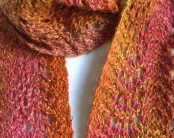 Knit Alpaca Lace Scarf in Shades of Orange Pink Gold