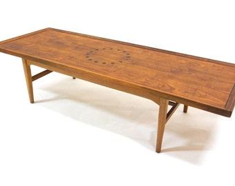 Mid Century Coffee Table / Kipp Stewart for Drexel Declaration / Walnut and Rosewood