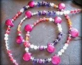 Magenta Freshwater Coin Pearl Necklace, Colorful Jewelry, Healing Gemstone Necklace, Amethyst, Rose Quartz, Long Bohemian Necklace