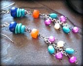 SALE Carnelian, Pearl, Lapis, Turquoise Earrings, Southwest Jewelry, Gemstone Cowgirl Jewelry, Wire Wrapped Cluster Earrings