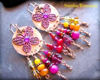 Bohemian Chandelier Earrings, Colorful Earrings, Butterfly Earrings, Artisan Copper Earrings, Red/Pink/Orange/Yellow, Colorful Jewelry
