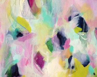 Abstract Painting Print, Abstract Giclee Print, Pink and Green Abstract Print, Modern Art Print