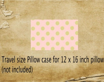 Pillowcase,travel size pillowcase,blush polka dot pillowcase, kids pillowcase