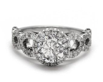 Infinity Diamond Ring in 18k White Gold Diamond Engagement Ring