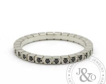 Black Diamond Eternity Band Square Design in 14k White Gold