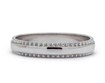 Cog Wheel ring Wedding Band in 14k White Gold