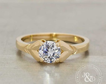Heart Engagement Ring 18k Yellow Gold, Diamond Engagement Ring, Two Hearts Solitaire Diamond Ring