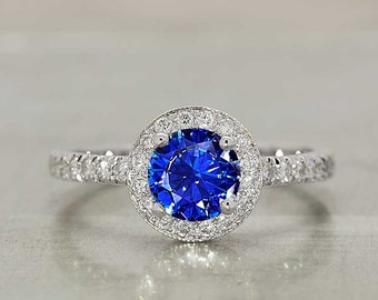 Sapphire Ring Sapphire Engagement Ring in 18k White Gold