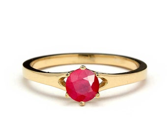 Solitaire Ruby Engagement Ring in Yellow Gold - Ruby Engagement Ring Yellow Gold - Natural Ruby Engagement Ring in Yellow Gold - Pink Ruby