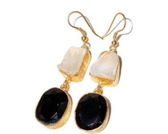 Quartz and black onyx rough cut earrings