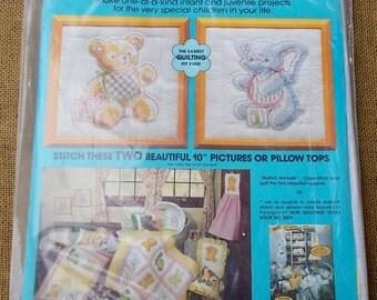 "Vintage 1982 Paragon Quilting Kit-Stuffed Animals-Bear & Elephant-2 10"" Squares-2"