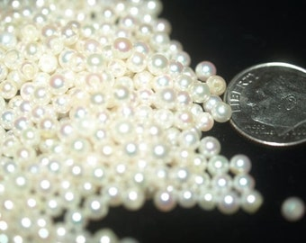 Akoya round Pair of 3mm genuine Cultured half-drilled pearls ready for earrings or jewelry