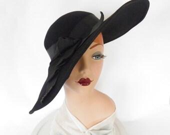 Vintage 1930s hat, black wide brim, picture hat, excellent