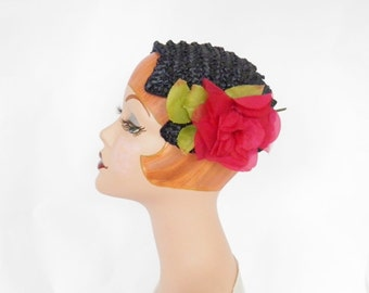 1950s navy blue hat with red rose