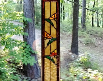 Awesome and lovely art glass Poppy STAINED GLASS Panel glass art suncatcher gift window treatment