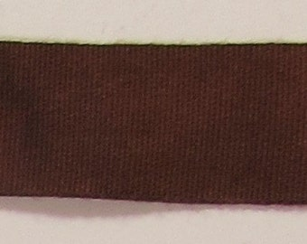 """Ribbon, 100% Organic Cotton, Sold by the Yard, 7/8"""" Wide, Hand-dyed, Chocolate"""