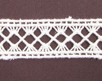 100% Organic Cotton Lace, Natural, Undyed, Sold by the Yard, 21mm