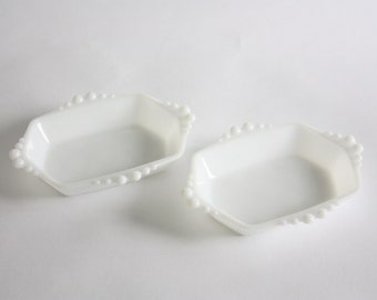Vintage Pair Small Milk Glass Dishes, Trays