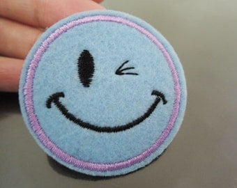 Iron on Patch - Smile Face Patches Light Blue patch Iron on Applique embroidered patch Sew On Patch
