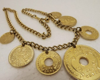 Vintage East Africa~Swiss~Austrian Gold Coin Pendant Charm Necklace~Asian Coin Charm Necklace/Choker