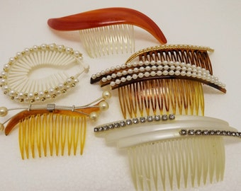 Vintage Lot~Pearl Rhinestone Hair Comb, Brown, Faux Pearls, Vintage Bride, Made in U.S.A.