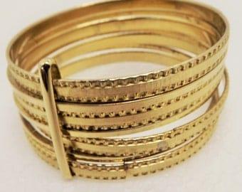 Vintage Textured Gold-Tone Etched 7 Bangle Bracelets~1980's Stacked Bangle Bracelet