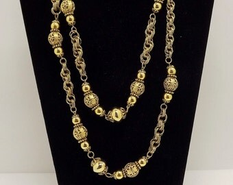 1980s Twisted Rope Gold Chain Beaded Necklace~Heavy Gold Chain Necklace~Filigree Beaded Extra Long Necklace
