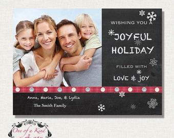 Digital Photoshop Christmas Card Template for photographer, Photographer Template, Photo Christmas Card, Chalkboard Design, Instant Download