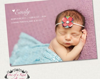 Digital Photo Birth Announcement Template for Photographers, 7x5 Birth Announcement Card, PSD Template, Instant Download