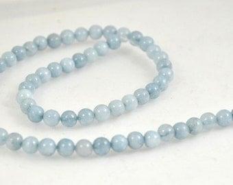 """Charm 6mm Round  Aquamarine Quartz Gemstone Beads 15"""" Full One Strand"""