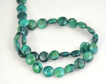 """Coin Azurite Chrysocolla Jasper Round Beads Gemstone 12mm beads  green Azurite Full Strand 15.5"""""""