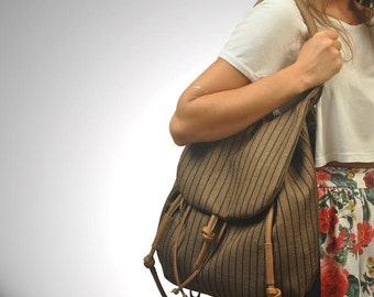 Shoulder bag ,backpack, women bag,crossbody bag ,handbag in Striped fabric with leather details, named Daphne , MADE TO ORDER